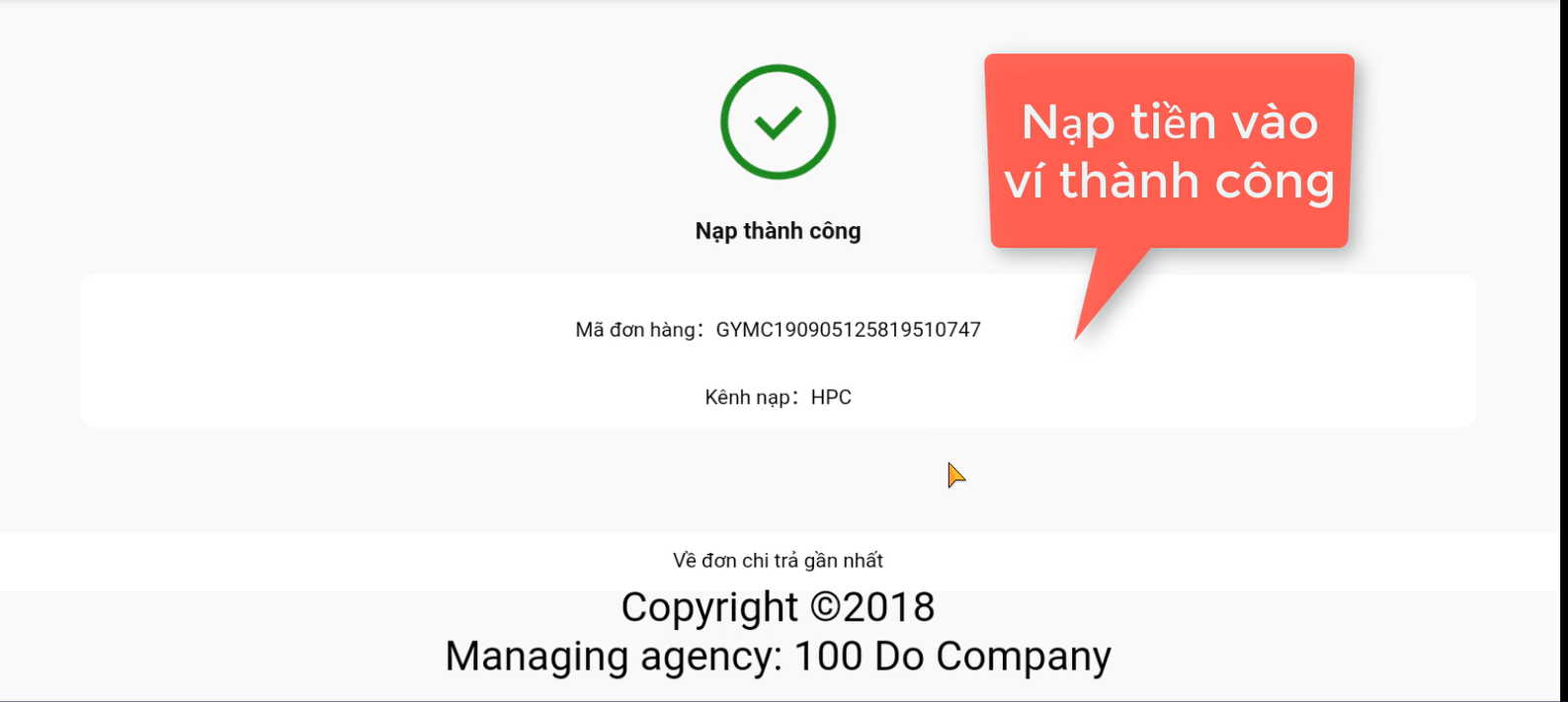 Nap the HPCode thanh cong