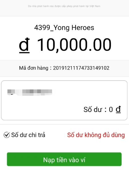 Nạp tiền vào ví 100D Yong Heroes